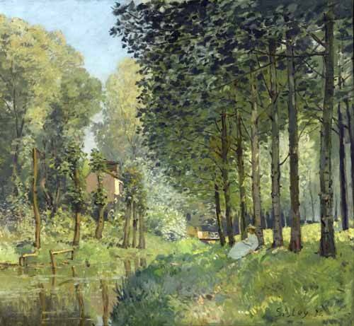 cuadros-de-paisajes - Cuadro -Rest along the Stream Edge of the Wood, 1878- - Sisley, Alfred
