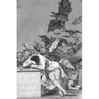 cuadros de mapas, grabados y acuarelas - Cuadro -El sueño de la razon produce monstruos_(N_43), de Los Caprichos - Goya y Lucientes, Francisco de