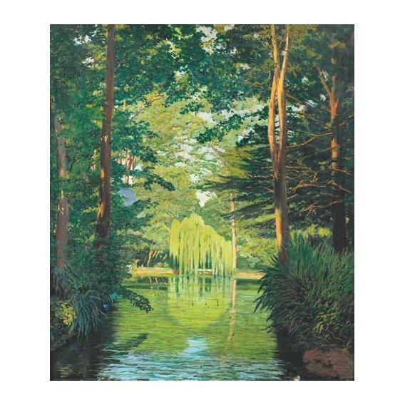 cuadros de paisajes - Cuadro -Paisaje en un lago-