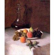 Cuadro -Jarra de vino y plato de frutas sobre mantel blanco-