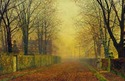 cuadros-de-paisajes - Cuadro -Evening_Glow, 1888- - Grimshaw, John Atkinson