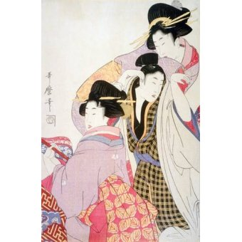 Cuadro -Two Geishas and a Tipsy Client-