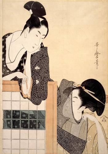 cuadros-etnicos-y-oriente - Cuadro -Couple with a Standing Screen- - Utamaro, Kitagawa