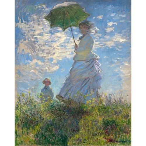 cuadros de retrato - Cuadro -Woman with a Parasol - Madame Monet and Her Son, 1875-