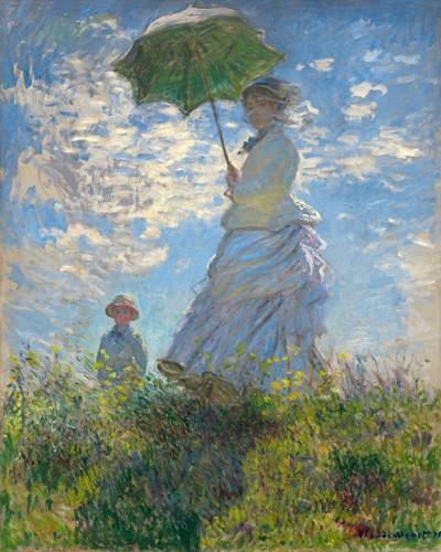 cuadros-de-retrato - Cuadro -Woman with a Parasol - Madame Monet and Her Son, 1875- - Monet, Claude