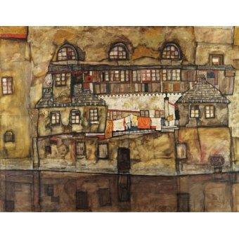 Cuadro -House Wall on the River, 1915- - Schiele, Egon