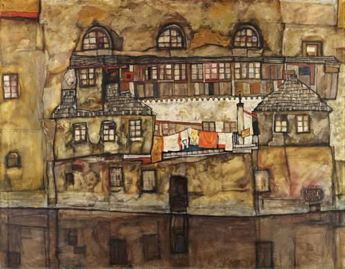 cuadros-de-paisajes - Cuadro -House Wall on the River, 1915- - Schiele, Egon