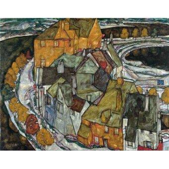 - Cuadro -Crescent of Houses II (Island Town), 1915- - Schiele, Egon
