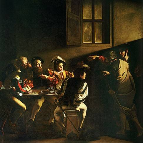 cuadros-religiosos - Cuadro -La_vocacion de San Mateo- - Caravaggio, Michelangelo M.