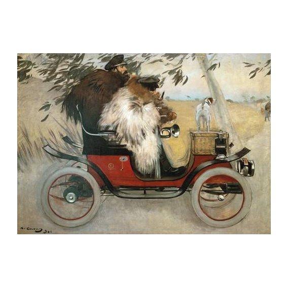 cuadros de retrato - Cuadro -Ramon Casas y Pere Romeu en automovil, 1901-