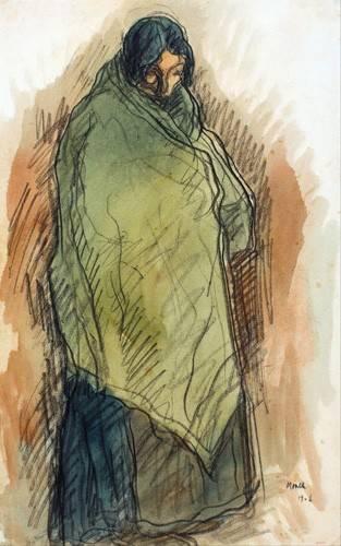 cuadros-de-retrato - Cuadro -Gypsy Standing, 1906- - Nonell y Monturiol, Isidre