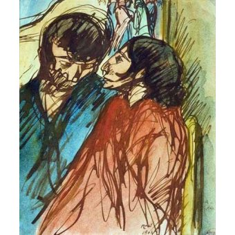 - Cuadro -Gypsy Couple, 1904- - Nonell y Monturiol, Isidre