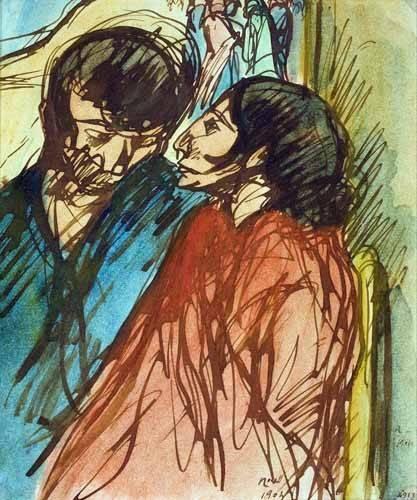 cuadros-de-retrato - Cuadro -Gypsy Couple, 1904- - Nonell y Monturiol, Isidre