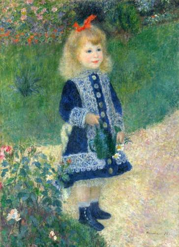 cuadros-de-retrato - Cuadro -A Girl with a Watering Can, 1881- - Renoir, Pierre Auguste