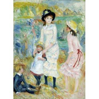 - Cuadro -Children on the Seashore, Guernsey, 1883- - Renoir, Pierre Auguste