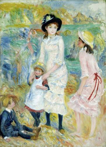 cuadros-de-retrato - Cuadro -Children on the Seashore, Guernsey, 1883- - Renoir, Pierre Auguste