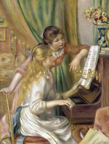 cuadros-de-retrato - Cuadro -Young Girls at the Piano, 1892- - Renoir, Pierre Auguste
