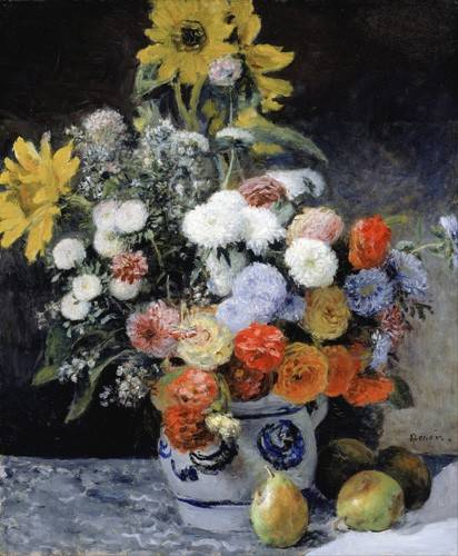 cuadros-de-flores - Cuadro -Mixed Flowers in an Earthenware Pot, 1869- - Renoir, Pierre Auguste