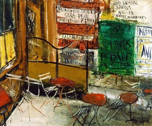 cuadros-modernos - Cuadro -Café Terrace with Posters- - Yuzo, Saeki