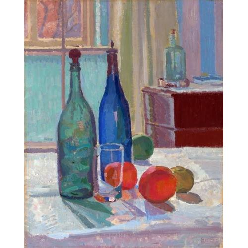 cuadros de bodegones - Cuadro -Blue and Green Bottles and Oranges, 1914-