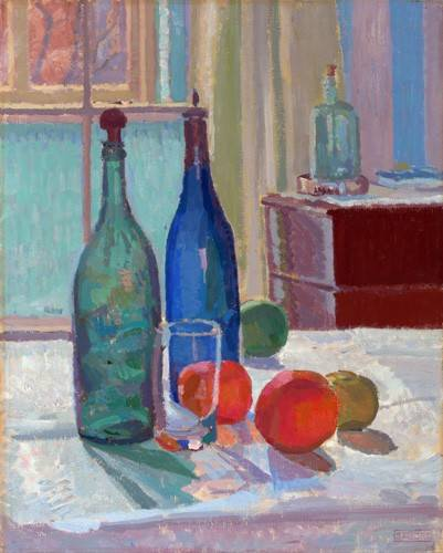 cuadros-de-bodegones - Cuadro -Blue and Green Bottles and Oranges, 1914- - Gore, Spencer