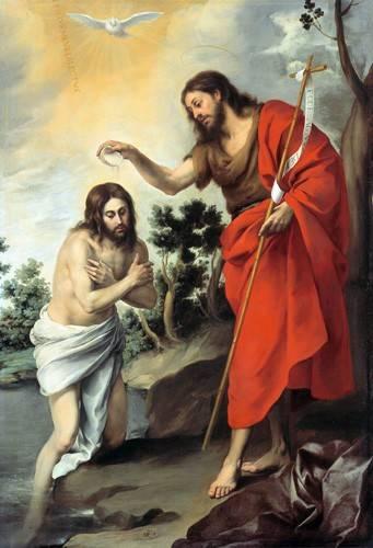 cuadros-religiosos - Cuadro -Bautismo de Cristo, 1655- - Murillo, Bartolome Esteban