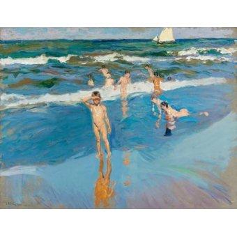 cuadros de marinas - Cuadro -Niños en el mar, Playa de Valencia- - Sorolla, Joaquin