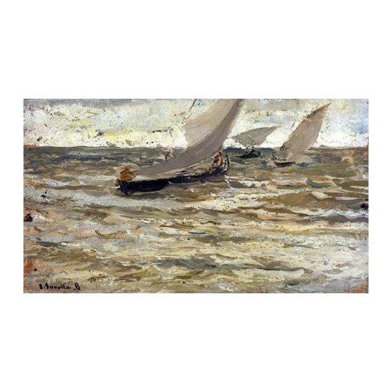 cuadros de marinas - Cuadro -Salida de las barcas, Asturias-