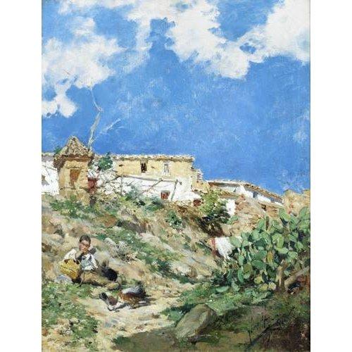 cuadros de paisajes - Cuadro -Paisaje con figura en Sagunto (Valencia)-