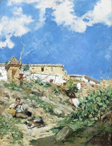 cuadros-de-paisajes - Cuadro -Paisaje con figura en Sagunto (Valencia)- - Sorolla, Joaquin
