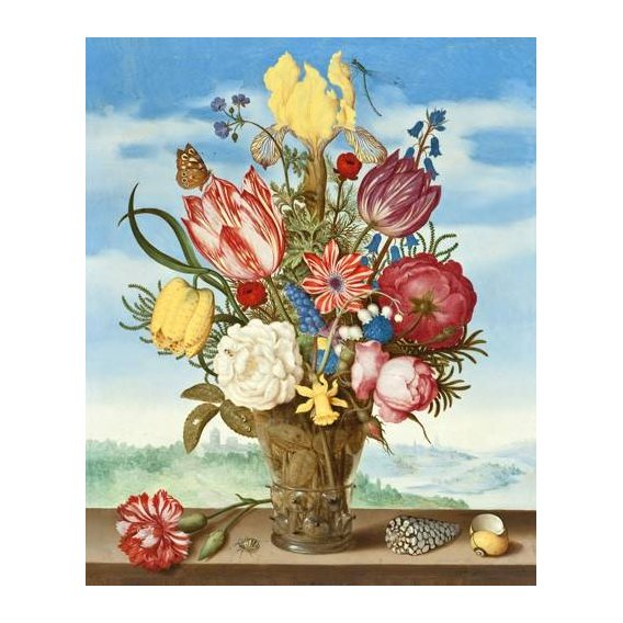 cuadros de flores - Cuadro -Bouquet of Flowers on a Ledge-