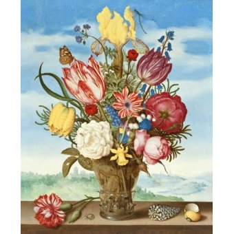 cuadros de flores - Cuadro -Bouquet of Flowers on a Ledge- - Bosschaert, Ambrosius