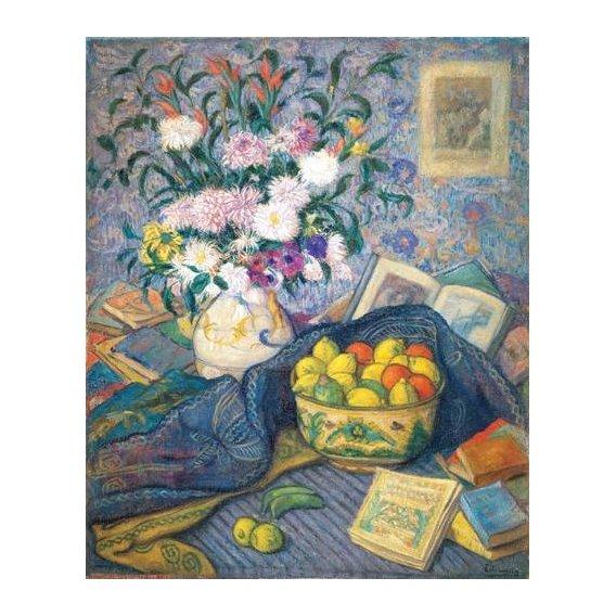 cuadros de bodegones - Cuadro -Jarron de flores con plátanos, limones y libros, 1917-