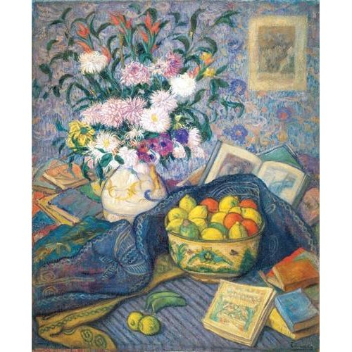 Cuadro -Jarron de flores con plátanos, limones y libros, 1917-