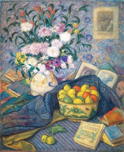 cuadros-de-bodegones - Cuadro -Jarron de flores con plátanos, limones y libros, 1917- - Echevarria, Juan de