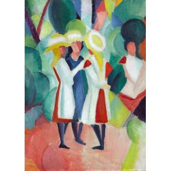 cuadros de retrato - Cuadro -Three girls in yellow straw hats, 1913- - Macke, August