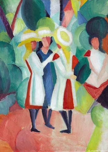 cuadros-de-retrato - Cuadro -Three girls in yellow straw hats, 1913- - Macke, August
