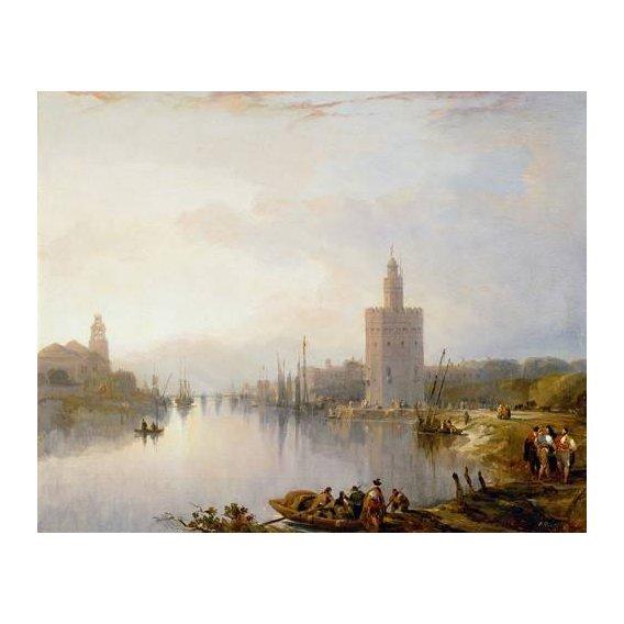 cuadros de paisajes - Cuadro -La Torre del Oro, Sevilla-