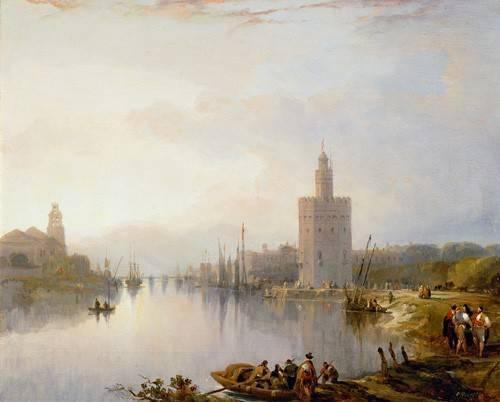 cuadros-de-paisajes - Cuadro -La Torre del Oro, Sevilla- - Roberts, David