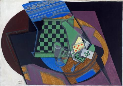 cuadros-abstractos - Cuadro -Damier et cartes à jouer, 1919- - Gris, Juan