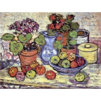 - Cuadro -Bodegón con cinerarias y fruta- - Prendergast, Maurice