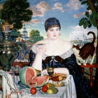 cuadros de retrato - Cuadro -Merchant's Wife at Tea- - Kustodiev, Boris