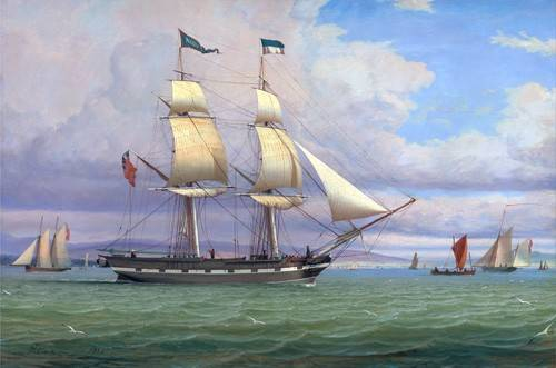 cuadros-de-marinas - Cuadro -The English Brig 'Norval' before the Wind, 1833- - Clark, William