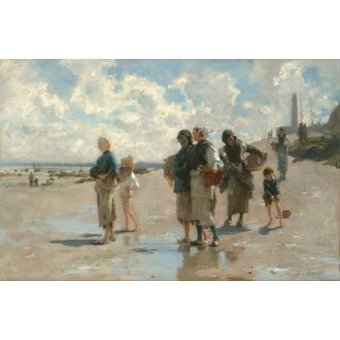 cuadros de marinas - Cuadro -Fishing for Oysters at Cancale, 1878- - Sargent, John Singer