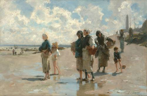 cuadros-de-marinas - Cuadro -Fishing for Oysters at Cancale, 1878- - Sargent, John Singer