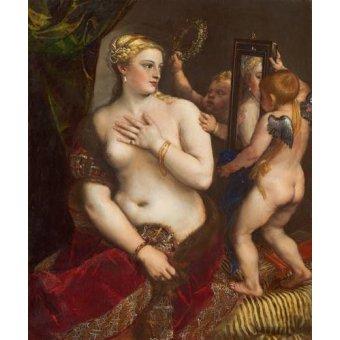 - Cuadro -Venus con un espejo- - Tiziano, Tiziano Vecellio