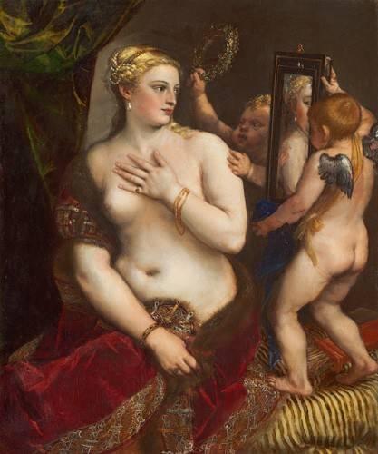 cuadros-de-desnudos - Cuadro -Venus con un espejo- - Tiziano, Tiziano Vecellio