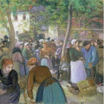 - Cuadro -Poultry Market at Gisors- - Pissarro, Camille