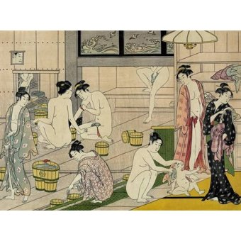 cuadros etnicos y oriente - Cuadro -Bathhouse women- - Kiyonaga, Torii