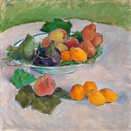 cuadros de bodegones - Cuadro -Still life with fruits and leaves-